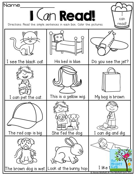 Beginning Reading Worksheets by I Can Read Simple Sentences That Can Decode With