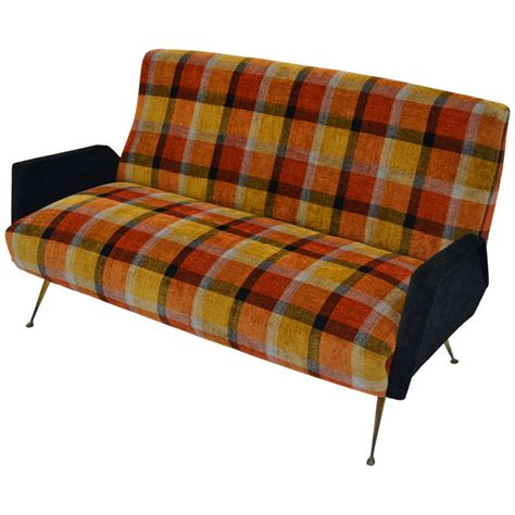 tartan sofa italian fifties design sofa with plaid tartan fabric