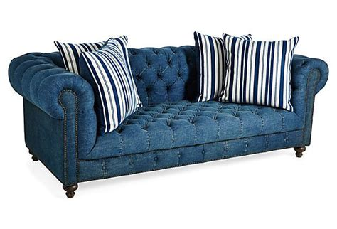 Denim Chesterfield Sofa by I Need A Denim Chesterfield Beau 90 Quot Sofa Denim On