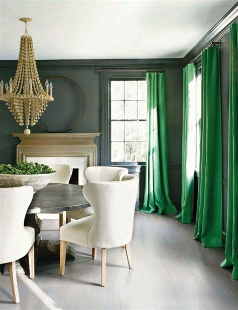 green and gray room kelly green emerald interior design curtains drapes dining room grey gray