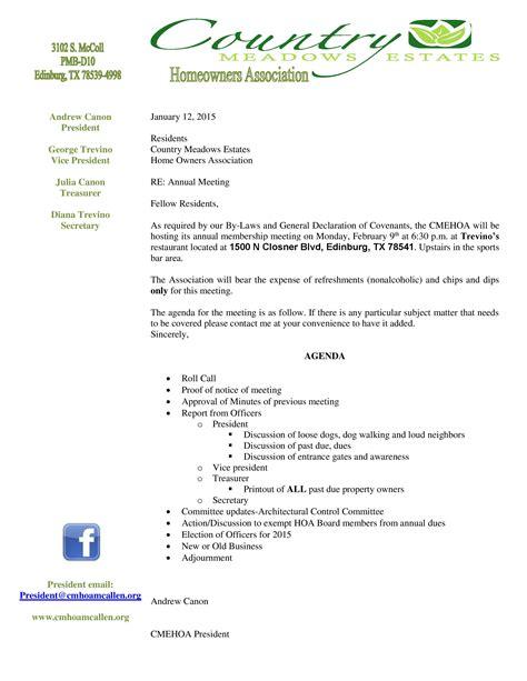 2015 Annual Meeting Agenda Country Meadows Estates Hoa Annual Meeting Minutes Template