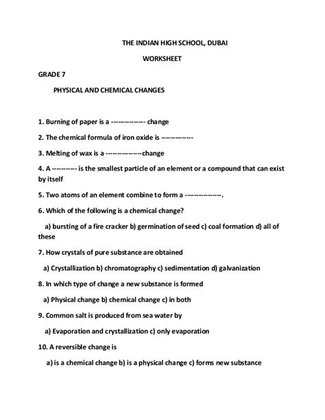 Changes In Society Worksheet Answers by Worksheets Chemical Vs Physical Change Worksheet