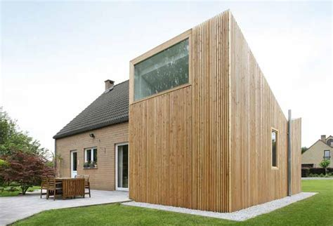 Pavillion Beige house and wood renovation by adn architectures in belgium