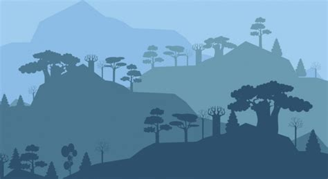 pemandangan alam latar belakang hitam siluet pohon gunung