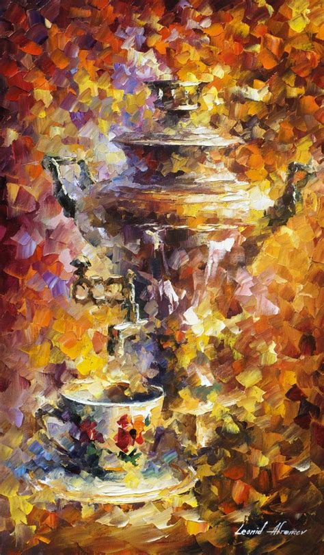 russian tea palette knife oil painting on canvas by leonid afremov http afremov com russian