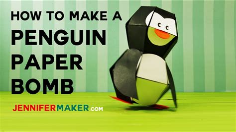 How To Make A Paper Penguin - penguin paper bomb pop up tutorial pattern