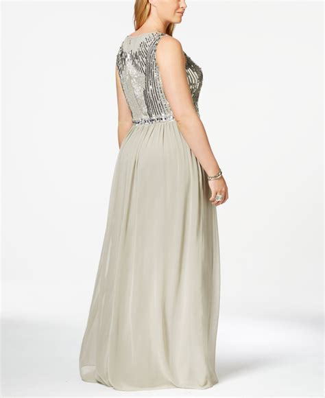 grey beaded gown lyst papell plus size sleeveless beaded gown in