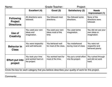 4 best images of elementary rubric printable