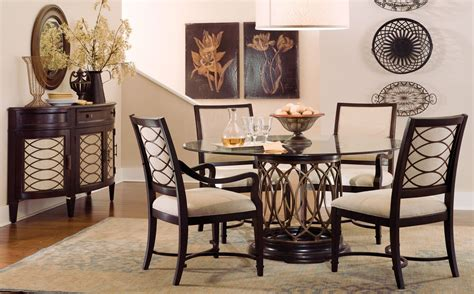 intrigue glass top dining room set from