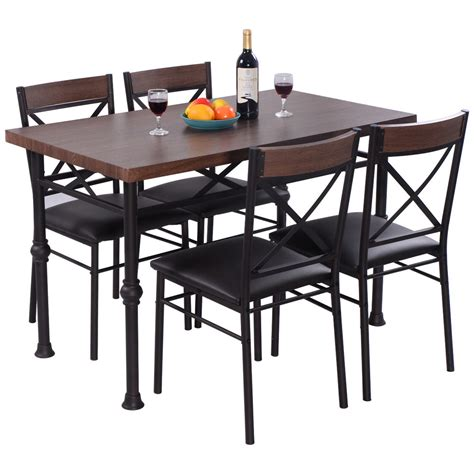 Wood Kitchen Table And Chairs 5 Dining Set Table And 4 Chairs Wood Metal Kitchen Breakfast Furniture New Ebay