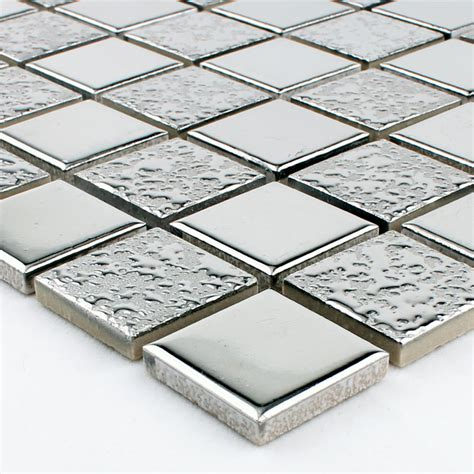 glazed porcelain mosaic wall tile backsplash silver