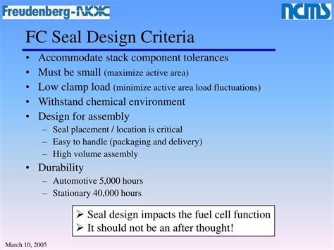 design criteria for a l ppt pem fuel cell stack sealing powerpoint presentation