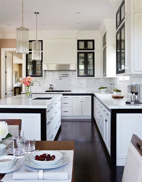 Kitchen With Black And White Cabinets Black And White Kitchen Design Contemporary Kitchen Gluckstein Home