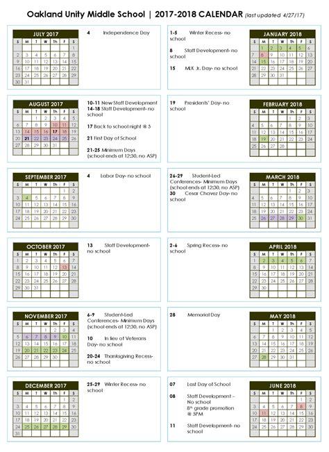 Middle School Calendar by School Calendar Oakland Unity Middle School Charter