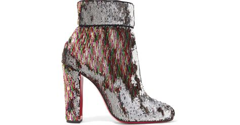 100 At The Net A Porter Sale by Lyst Christian Louboutin Moulamax 100 Sequined Leather