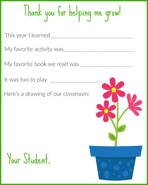 Thank You Letter Template Kindergarten The Chirping A Thank You Letter For Teachers Free Printable