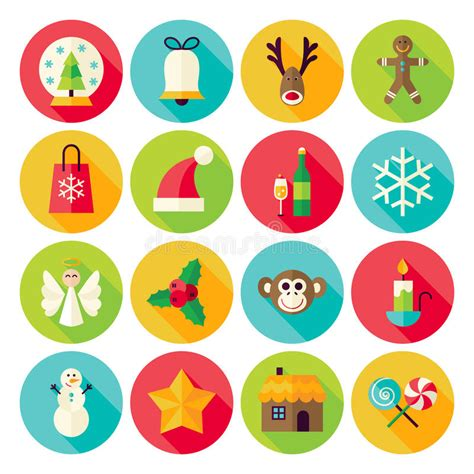 new year icon set winter new year circle icons set with