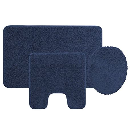 Navy Blue Bathroom Rug Set 3 Bath Rug Set Navy Blue Bathroom Mat Contour Rug Lid Cover Non Slip Bottom Home