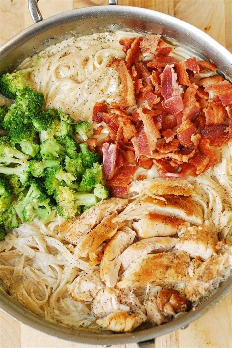 fettuccine alfredo with chicken broccoli and bacon julia s album