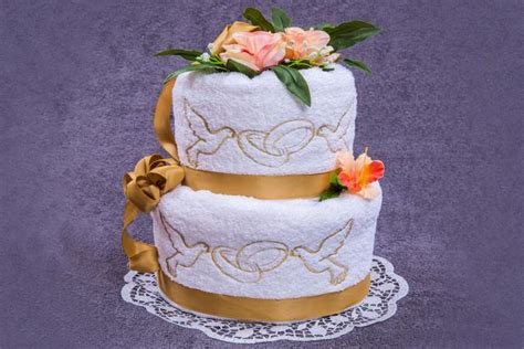 bridal shower towel cake decorations how to make a towel wedding cake lovetoknow