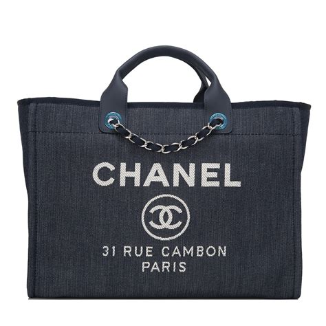Deauville Shopper Tote Bags Printed chanel blue denim large deauville shopping tote bag world s best