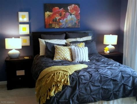 Grey Bedroom With Navy Accents Navy And Yellow Bedroom With White Comforter Instead Of