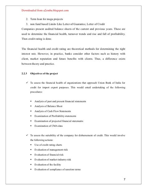 Union Bank Letter Of Credit 21042504 union bank credit appraisal project report