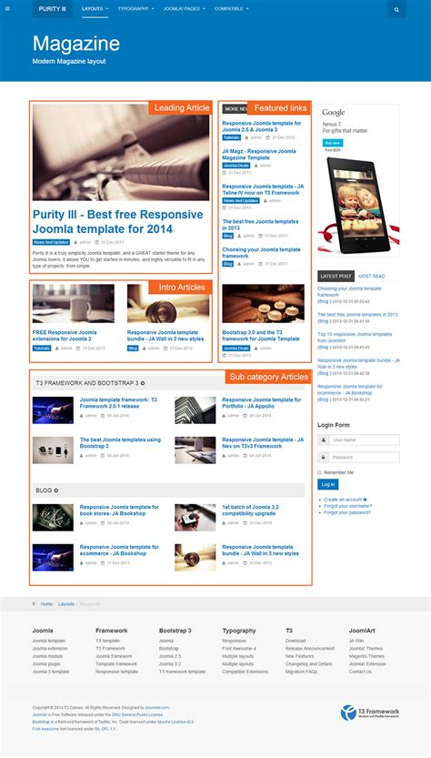 joomla article design layout layout in details of purity iii joomla template joomla
