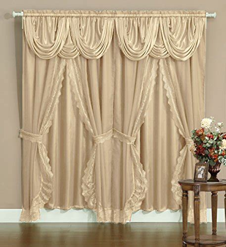 victorian sheer curtains victorian style bombay curtain set 120 quot x84 quot taupe 2 panel