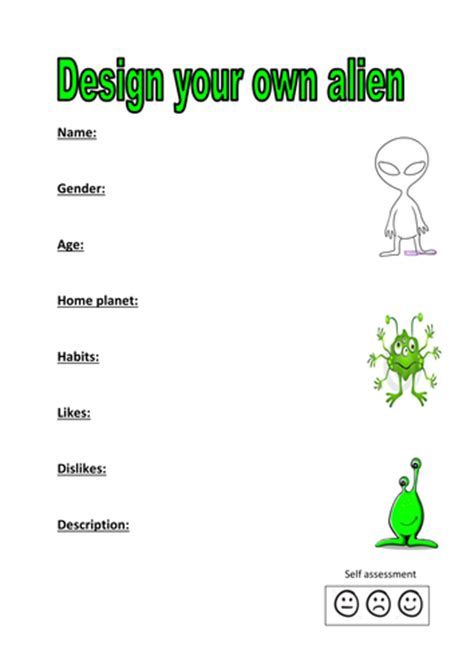 Design Your Own Alien Activity By Kayld Teaching Resources Tes Create Your Own Worksheet Template
