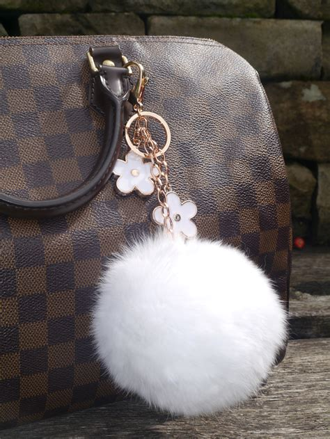 Black Furball Bag Charm real fur flowers keychain bag charm white futurocks