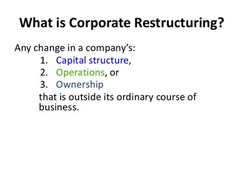 Restructuring Mba by 1 Basic Concepts Of Corporate Restructuring 1