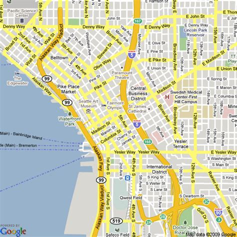 seattle map with hotels map of seattle united states hotels accommodation