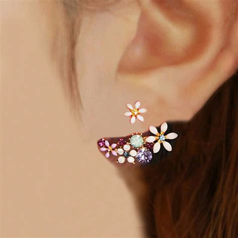 Sale Anting Korea Big Ring Color Earrings Murah 2016 korean fashion imitation pearl earrings small flowers hanging after senior flower