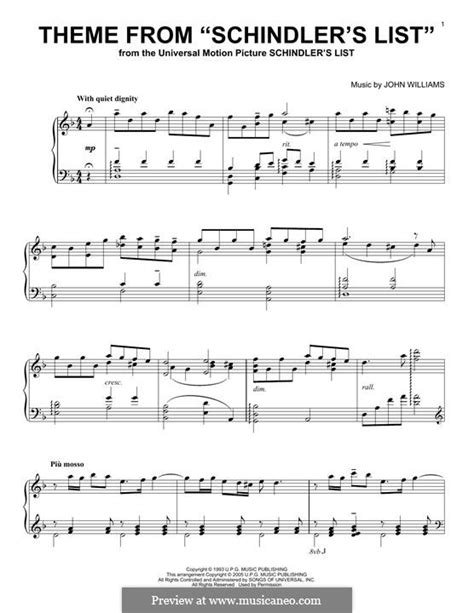 theme x list theme from schindler s list by j williams sheet music
