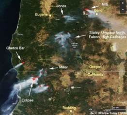 wildfires in northwest california and southern oregon were