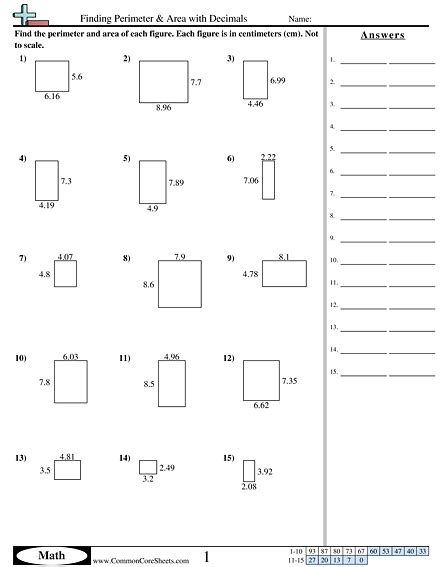 area and perimeter worksheets finding perimeter area with decimals worksheet homeschooling perimeter