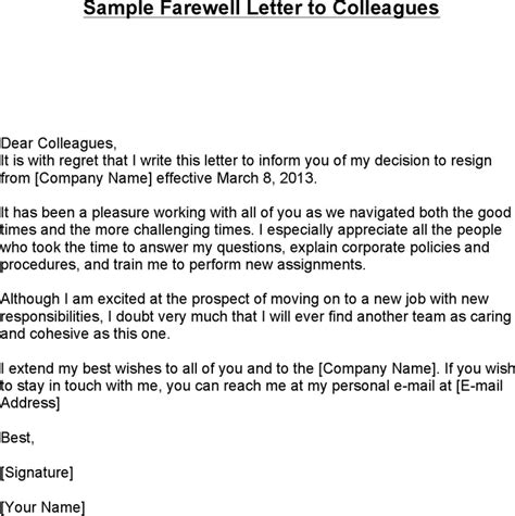 Farewell Letter After Resignation by Resignation Letter Format Sle Goodbye Letter To Colleagues After Resignation To