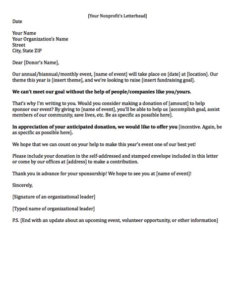 letter template for charity sponsorship fundraising letters how to craft a great fundraising appeal