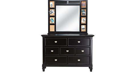 Set Dresser Description by Belmar Black Dresser Mirror Set