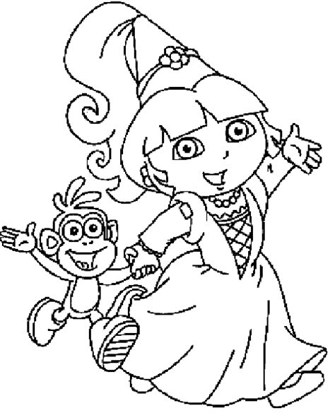 dora and buji coloring page coloring princess dora picture