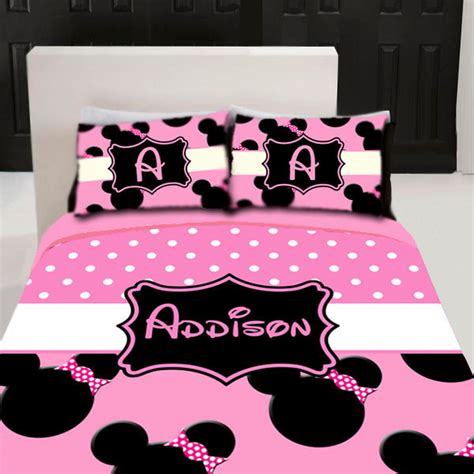 minnie mouse bed set mouse custom personalized bedding set by 3psinapod2011 on etsy