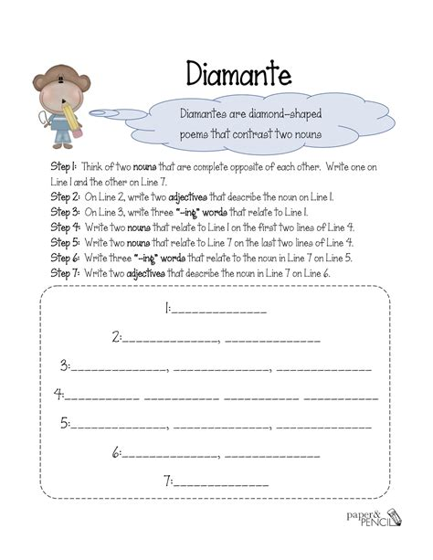 9 Best Images Of Printable Diamante Template Blank Diamante Poem Template Diamante Poem Diamante Poem Template