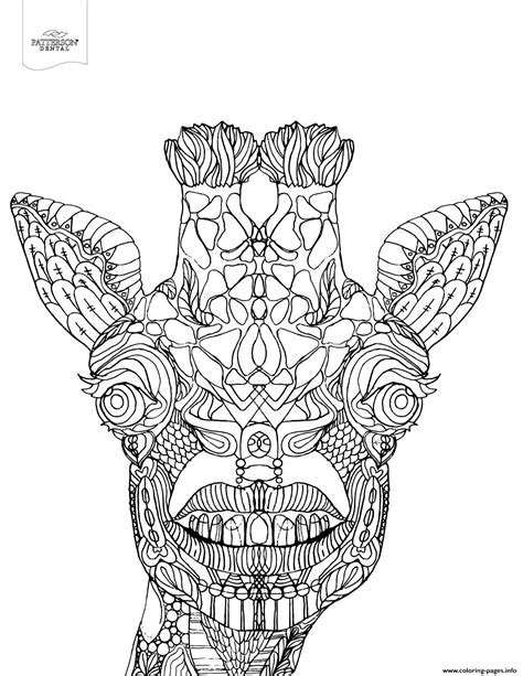 giraffe coloring page for adults advanced toothy giraffe animal coloring pages printable