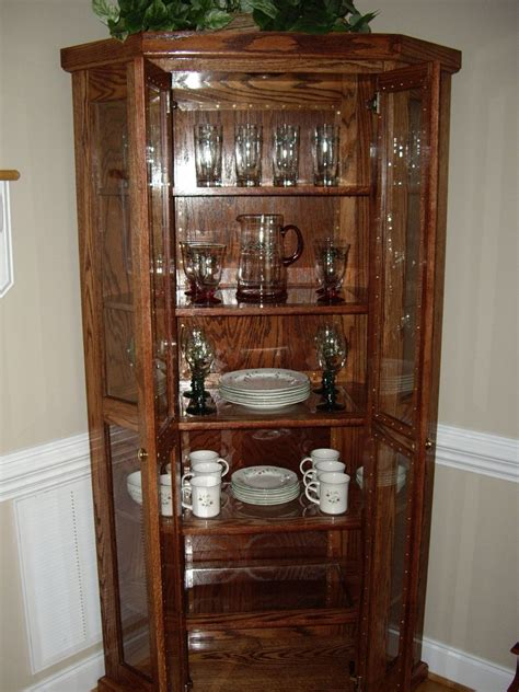 Narrow China Hutch Custom Qak Corner China Cabinet By D N Yager Woodworks
