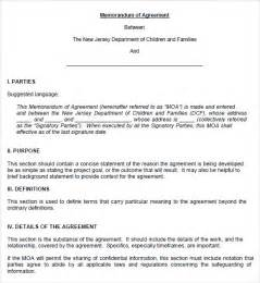 sample memorandum of agreement 7 documents in pdf word