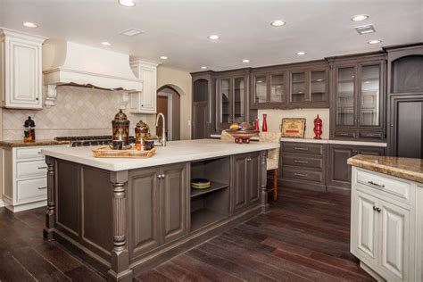 wood kitchen cabinets with wood floors contemporary kitchen with high ceilings light wood floors