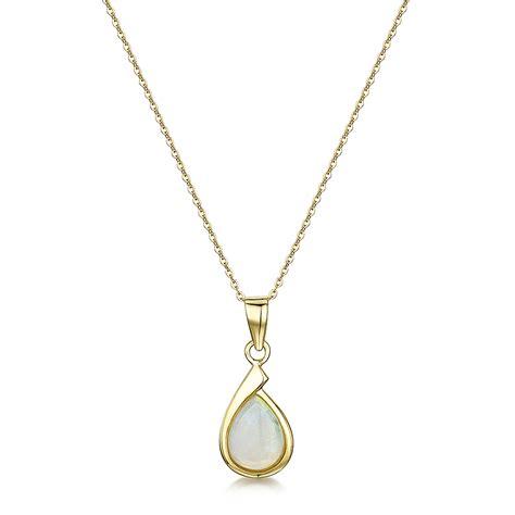 9ct yellow gold opal 18 chain pendant drop earrings