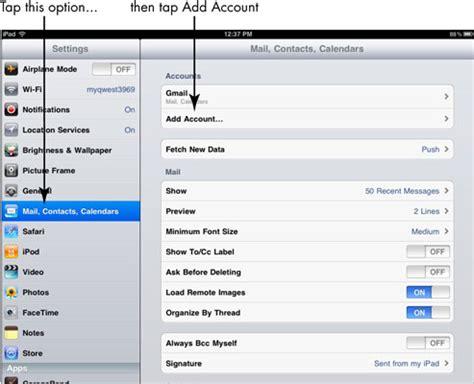 for seniors: add regular e mail to ipad 2 dummies