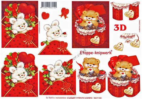 3d Decoupage - its for you teddy bears with hearts 3d decoupage